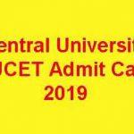 Central University CUCET Admit Card 2019