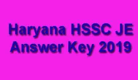 HSSC JE Answer Key