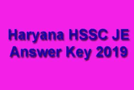 Haryana HSSC JE Answer Key