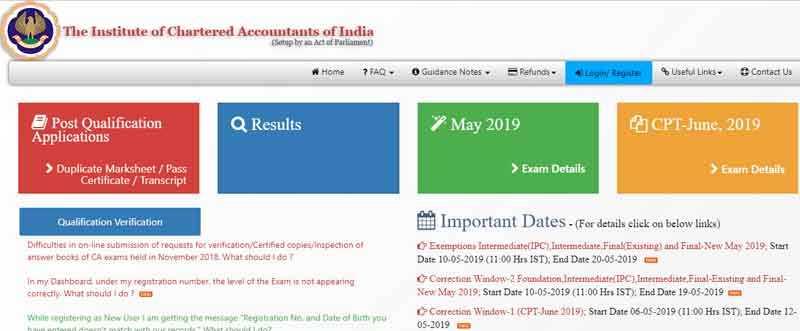 ICAI CA IPCC Admit Card May 2019