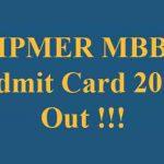 JIPMER MBBS Admit Card 2019