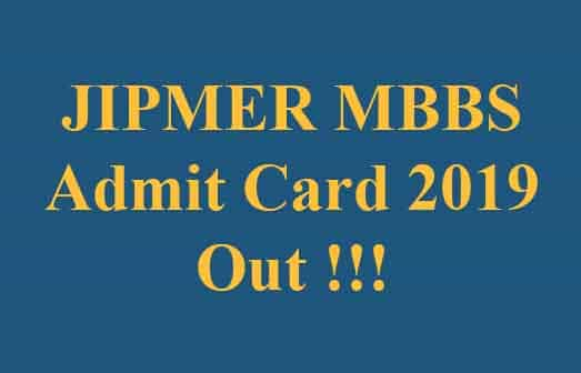 JIPMER MBBS Admit Card