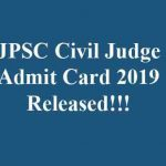 JPSC Civil Judge Admit Card 2019