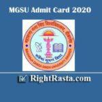 MGSU Admit Card 2020 | Download Maharaja Ganga Singh University Bikaner Exam Permission Letter @ univindia.net