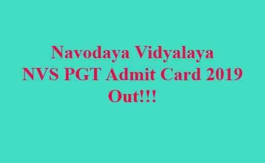 Navodaya Vidyalaya NVS PGT Admit Card