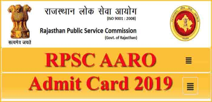 RPSC AARO Admit Card 2019