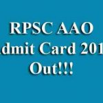 RPSC AAO Admit Card 2019