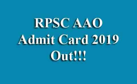RPSC Assistant Agriculture Officer Admit Card
