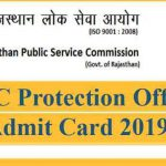 RPSC Protection Officer Admit Card 2019