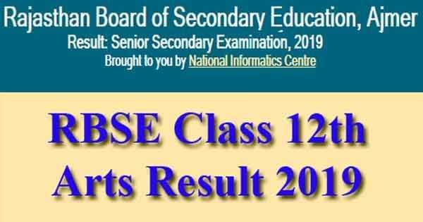 Rajasthan Board 12th Arts Result on rajresults.nic.in