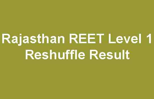 Rajasthan REET Level 1 Reshuffle Result 2019 [District Allotment]