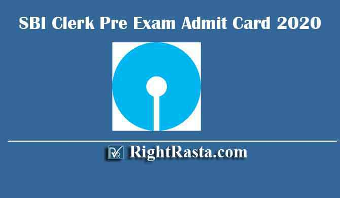 SBI Clerk Pre Exam Admit Card 2020
