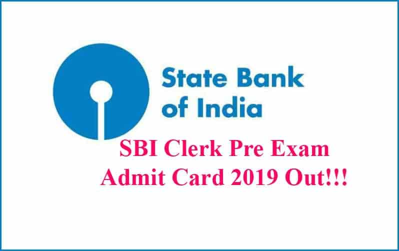 SBI Clerk Pre Exam Admit Card
