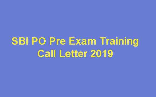 SBI PO Pre Exam Training Call Letter 2019