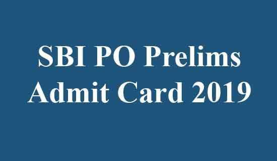 SBI PO Prelims Admit Card