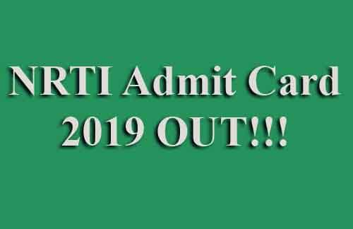 How to download NRTI Aptitude Test Hall Ticket 2019
