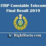 ITBP Constable Telecom Final Result 2019