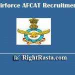 Indian Airforce AFCAT Recruitment Online Form 2020