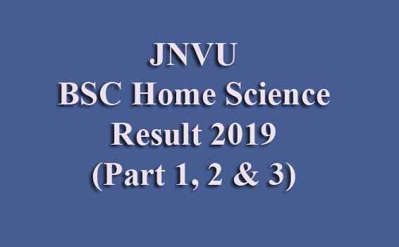 JNVU BSC Home Science Final Result 2019