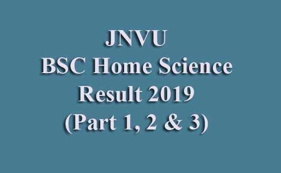 JNVU BSC Home Science Result 2019