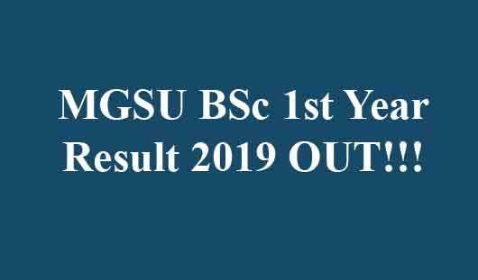 MGSU BSc 1st Year Result 2019