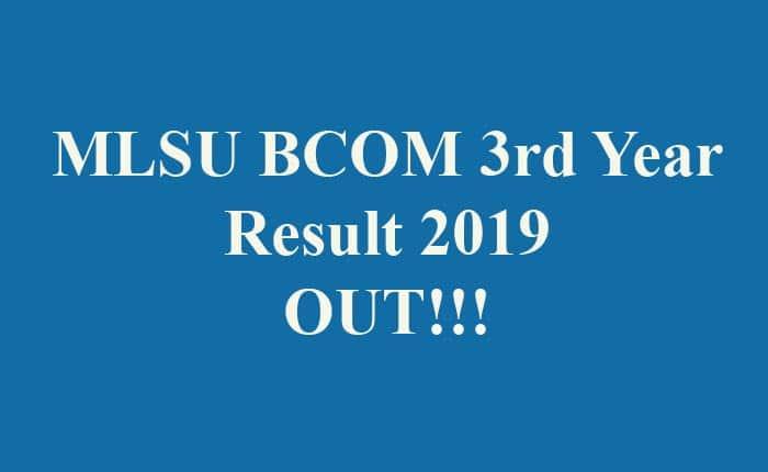 MLSU BCOM 3rd Year Result 2019