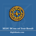 MLSU BCOM 1st Year Result 2020 (Out) - Mohanlal Sukhadia University B.Com Results