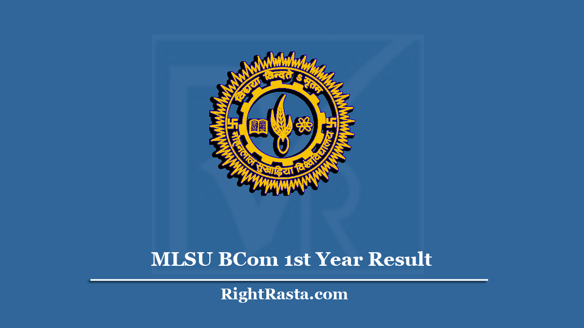 MLSU BCom 1st Year Result