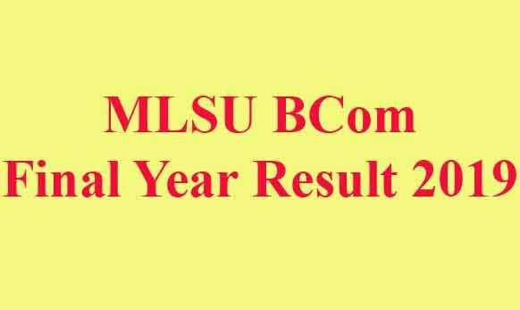 MLSU BCom Final Year Result 2019
