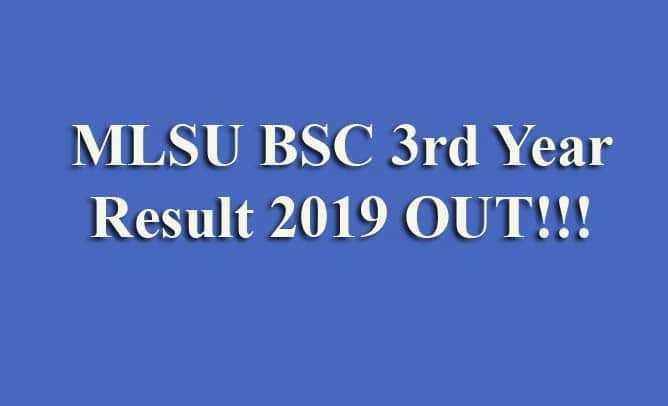 MLSU BSC 3rd Year Result 2019
