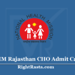 NHM Rajasthan CHO Admit Card 2020 (Out) | Community Health Officer Hall Ticket