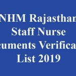 NHM Rajasthan Staff Nurse Documents Verification List 2019