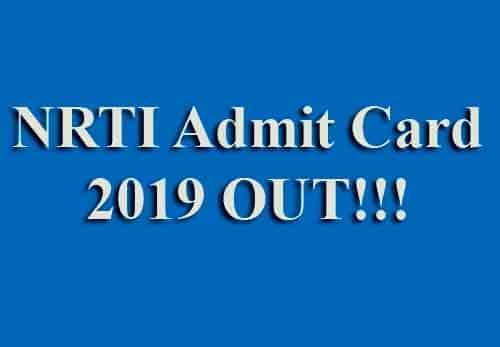 NRTI Admit Card 2019