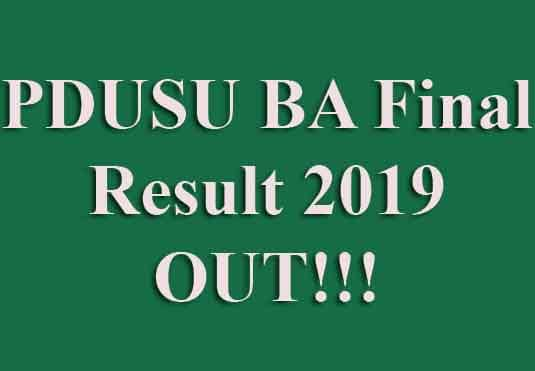 PDUSU BA Final Year Result