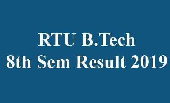 RTU B.Tech 8th Sem Result 2019
