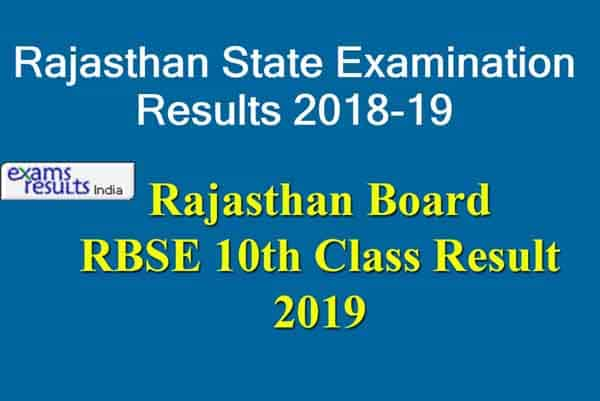 Rajasthan Board RBSE 10th Class Result 2019