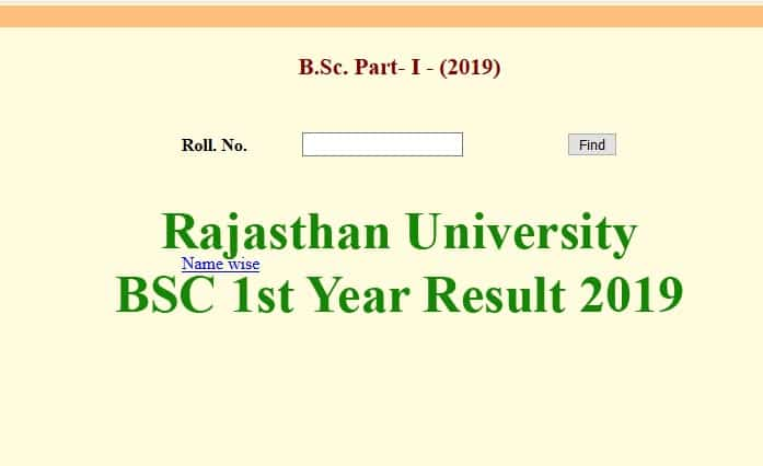 Rajasthan University BSC 1st Year Result 2019