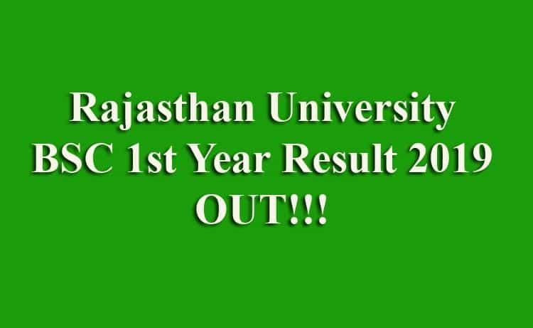 Rajasthan University UNIRAJ BSC 1st Year Result 2019