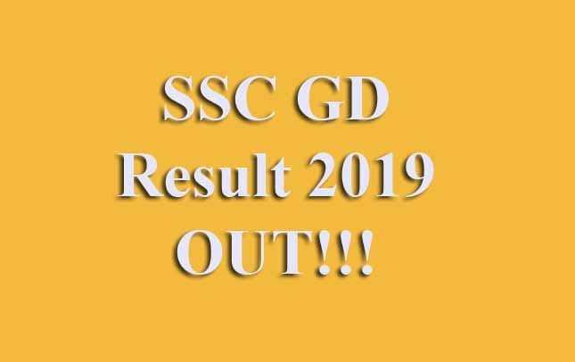 SSC GD Written Exam Result 2019