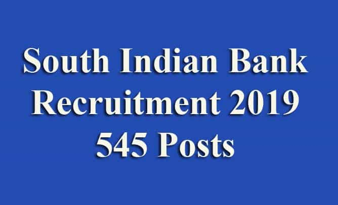 South IndianBank Recruitment 2019