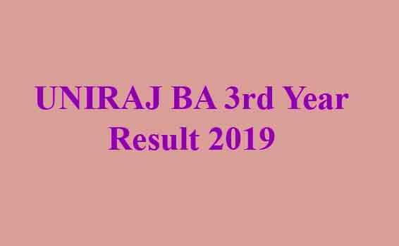 UNIRAJ BA 3rd Year Result 2019