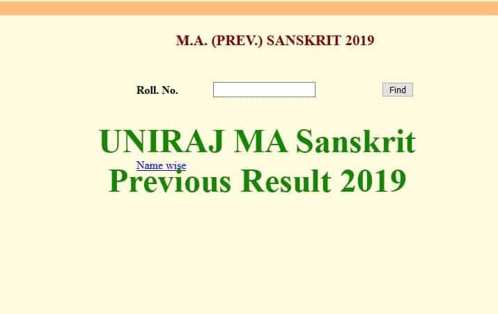 UNIRAJ MA Sanskrit Previous Result 2019