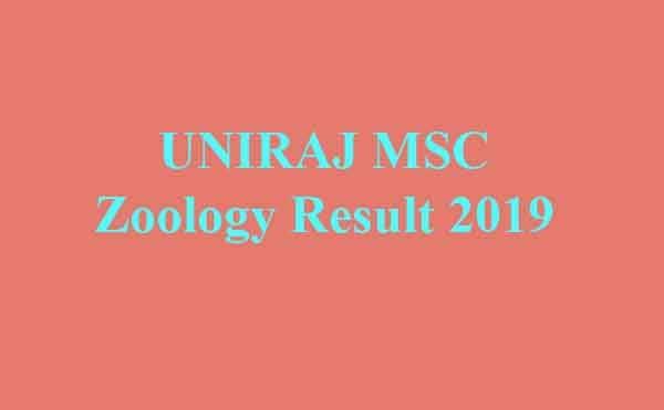 UNIRAJ MSC Zoology Result 2019