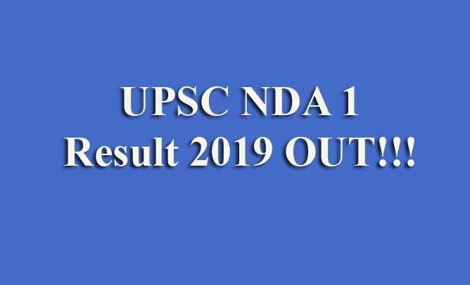 UPSC NDA 1 Result 2019