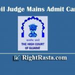 GHC Civil Judge Mains Admit Card 2020 | Download Gujarat High Court CJ Mains Exam Hall Ticket