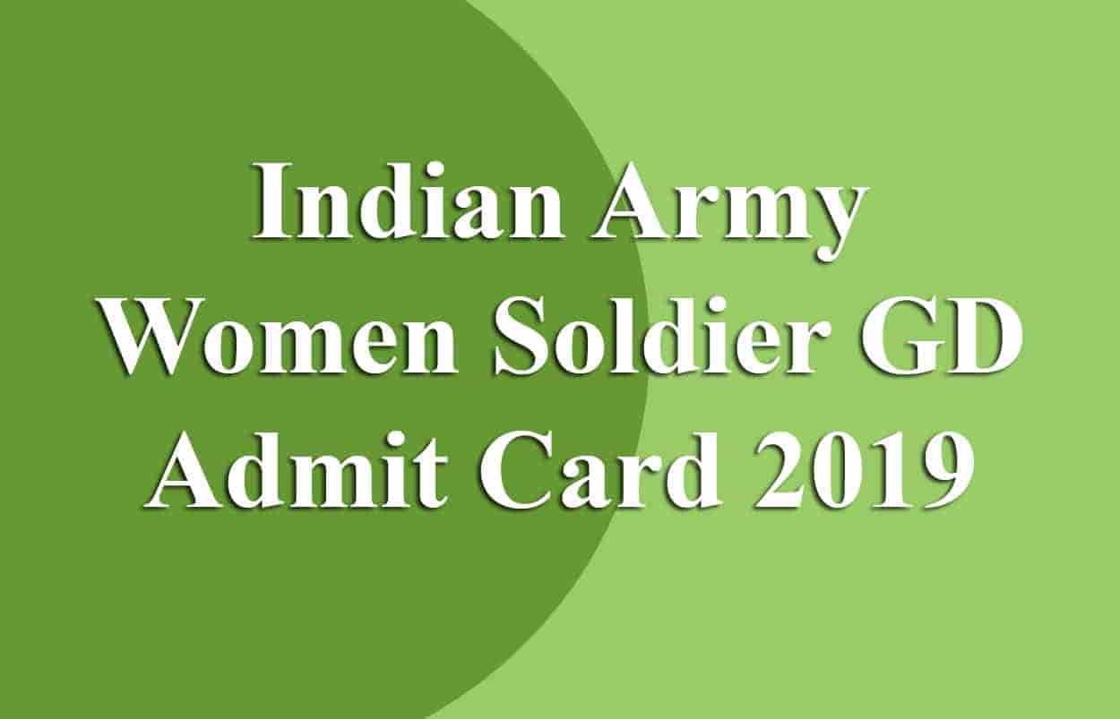 Indian Army Women Soldier GD Admit Card