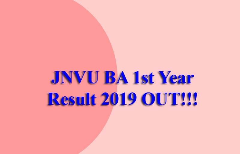 JNVU BA 1st Year Result