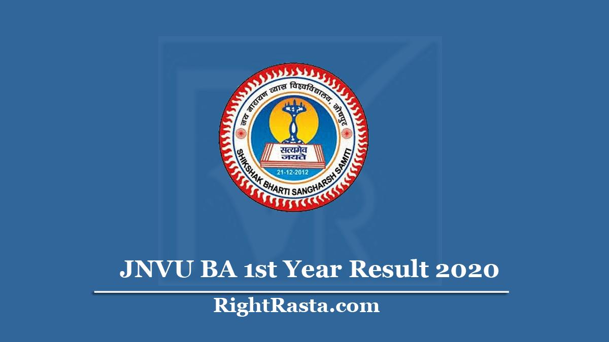 JNVU BA 1st Year Result 2020