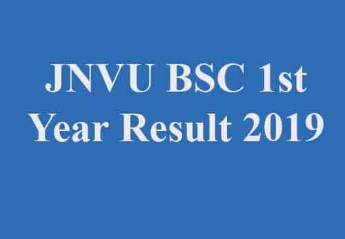 JNVU BSC 1st Year Result 2019
