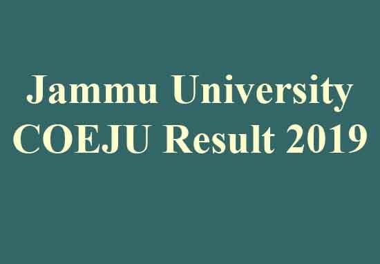 Jammu University COEJU Result 2019